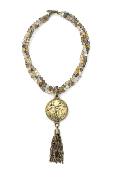 TRIPLE STRAND GOLDEN MIX W/ REPUBLIQUE MEDALLION & TASSEL