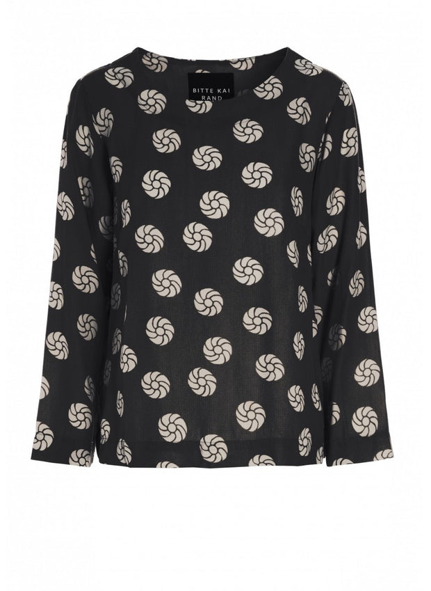 Black Rosette Dot Blouse
