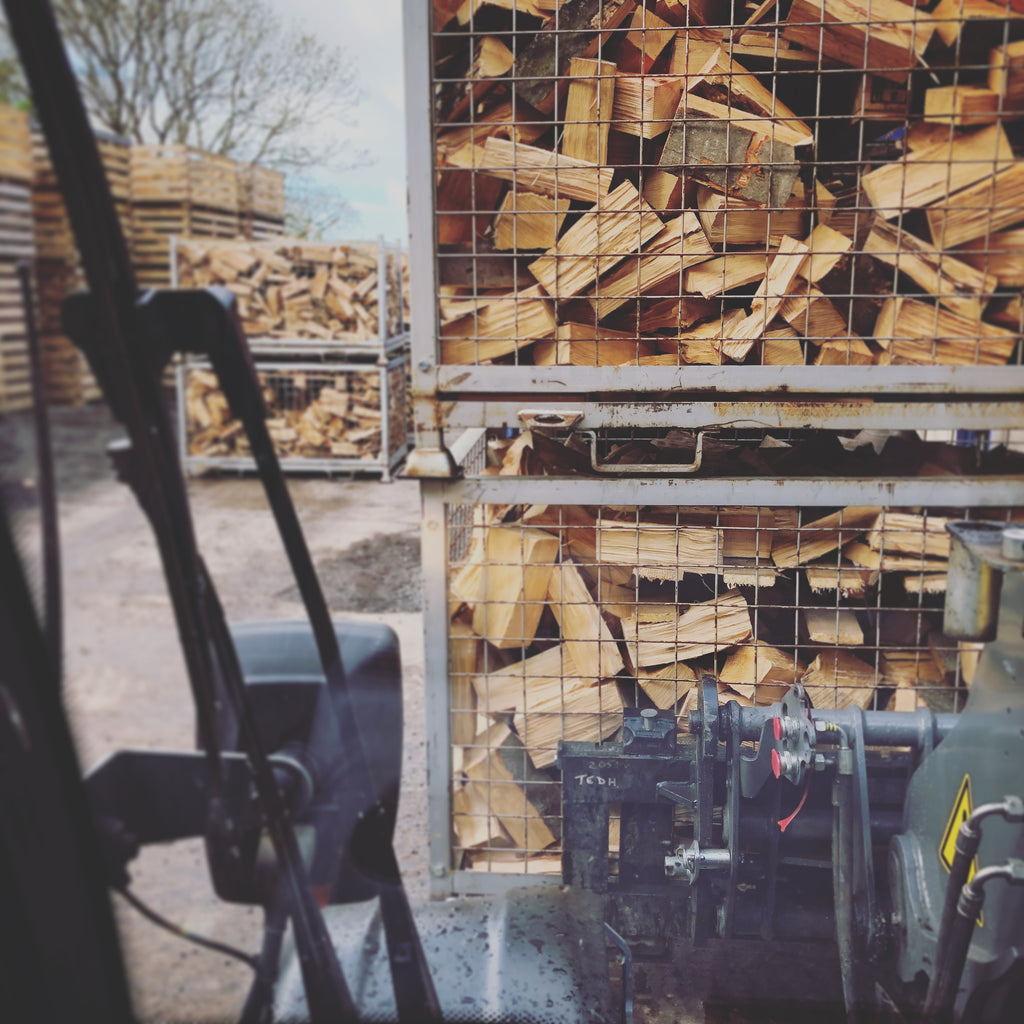 Hardwood firewood ready to be dried in the kiln.