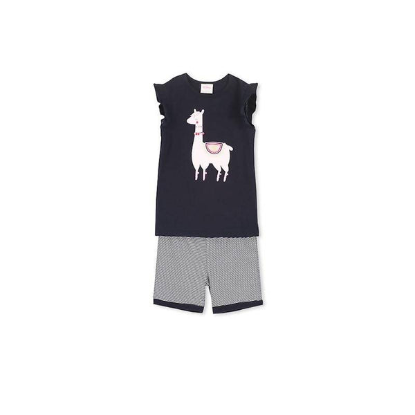 Milky Llama Pyjamas - French Navy/Super Pink