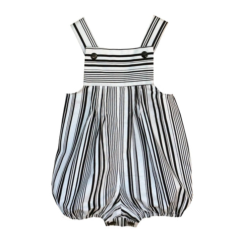 'Black and White Stripe' Overalls