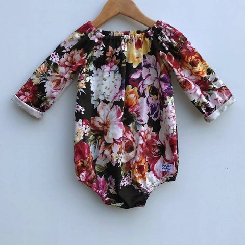 'Ebony Flowers' Playsuit (with elastic neck)