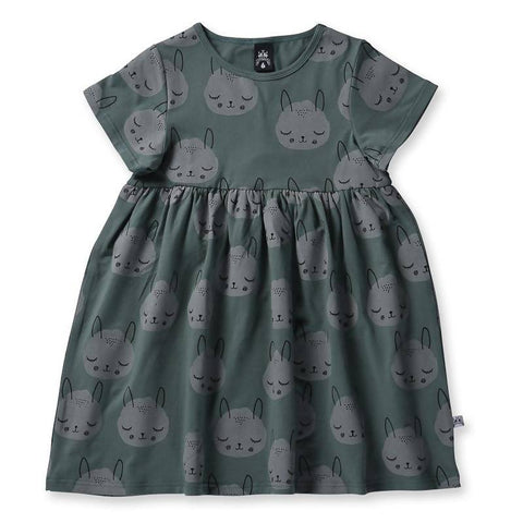 Littlehorn Snoozy Critter Dress - Olive