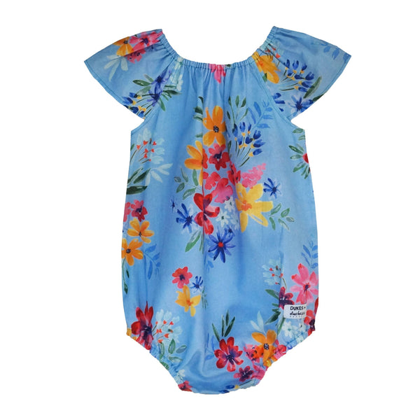 'Dusty Blue Flowers' Playsuit