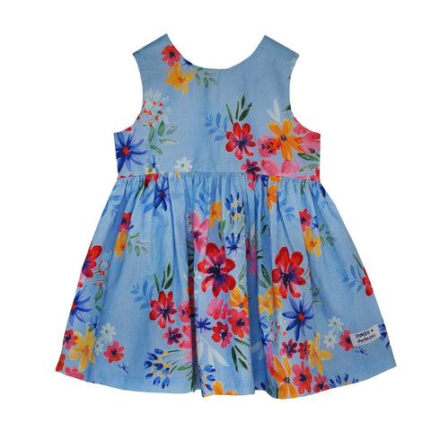 'Dusty Blue Flowers' Dipped Back Dress