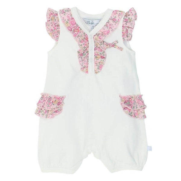 Bebe Liberty Knit Romper with Frill Details - Tatum Pink