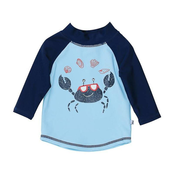 Bebe Jayce LS Crab Print Rash Vest - Light Blue