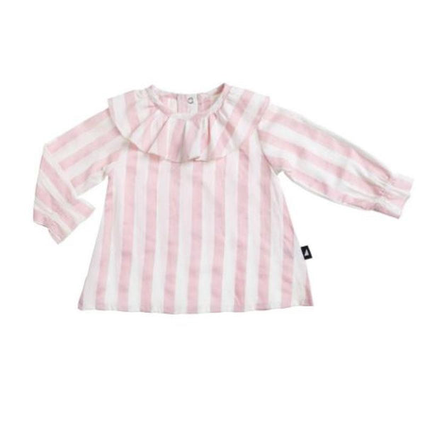 Anarkid Block Stripe Woven Frill  Neck Smock - Blush