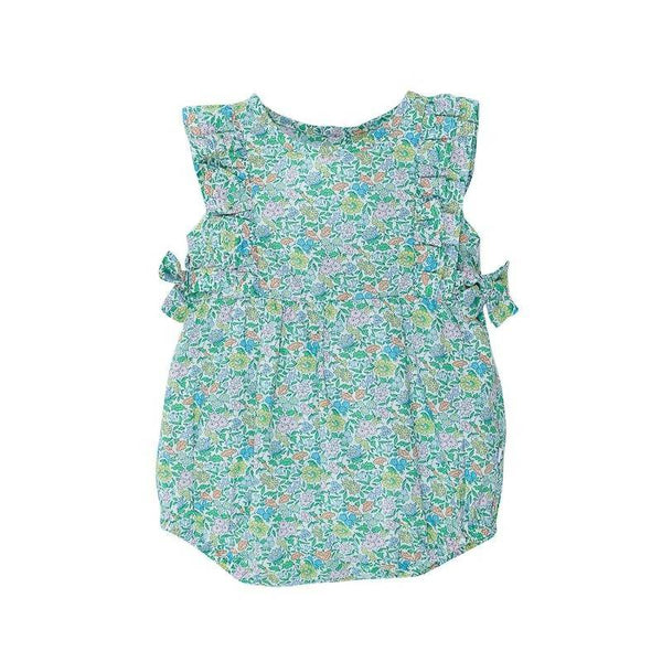 Bebe Liberty Woven Frill Romper with Bow - Favourite