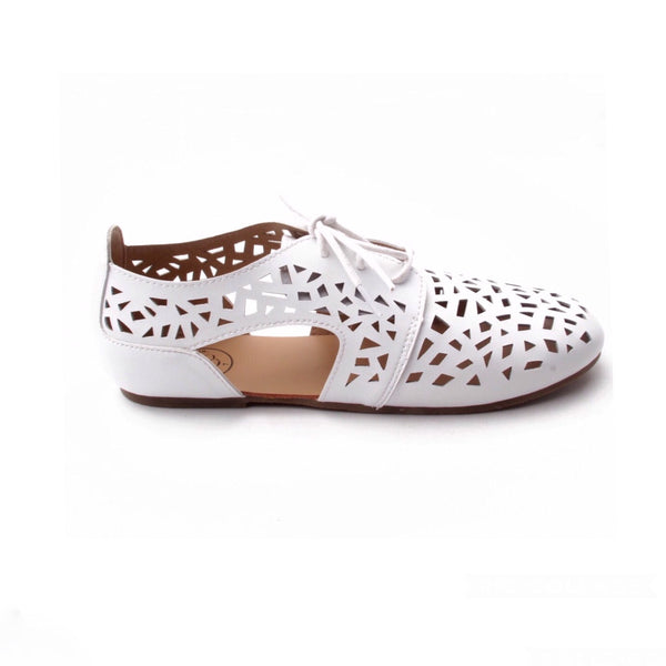 LITTLE FOOTWEAR CO Adult's White Cutout Oxfords