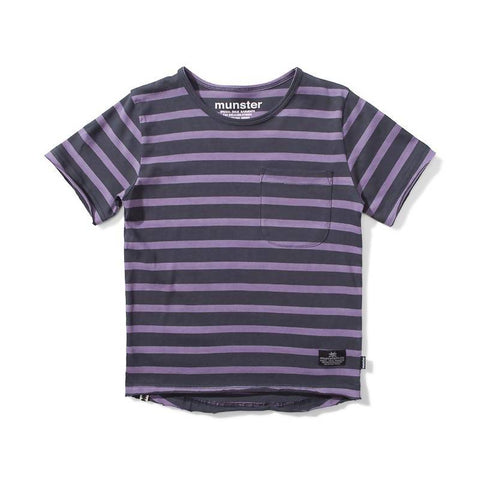 Munster Trasher Jersey SS Tee - Soft Black/Grape Stripe