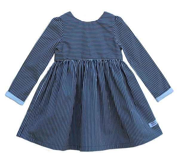 'Navy Stripe' Dipped Back Dress