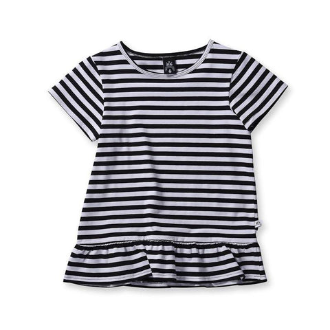 Littlehorn Girls Standard Stripe Tee - Black Stripe