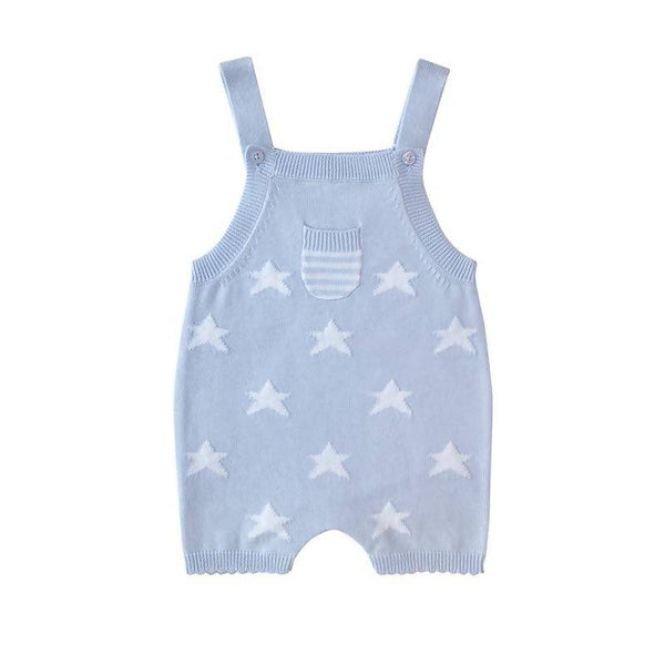 Beanstork All Cotton Star Playsuit - Soft Blue
