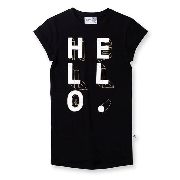 Minti Hello Shapes Rolled Up Tee Dress - Black