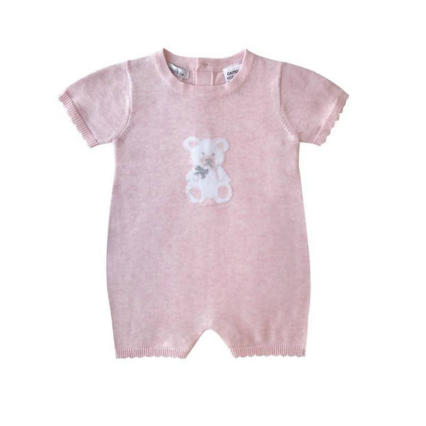 Beanstork All Teddy Bear Romper - Pink Marle