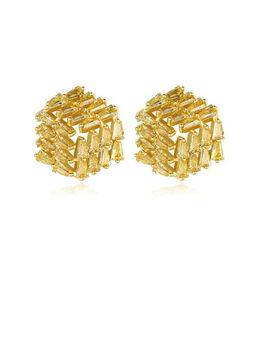 Copper Yellow Zirconia Stud Earrings. Tataita. RD$ 1000.