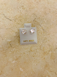 14K Gold Big Zirconia Stud Earrings