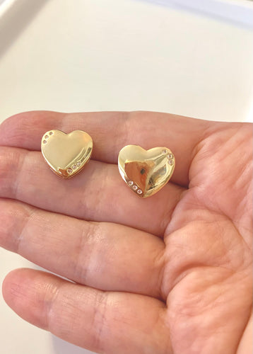 Golden Hearts Stud Earrings