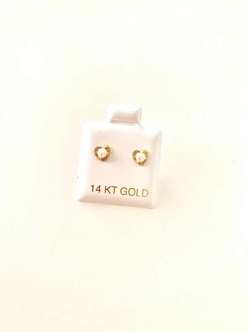 14Gold Heart with Pearls Earrings