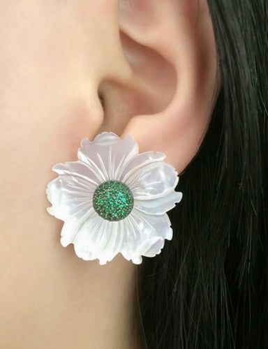 Statement Flower Mother of Pearl Earrings