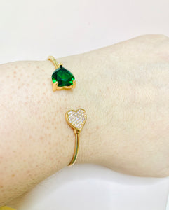 The Green Heart Bangle Bracelet