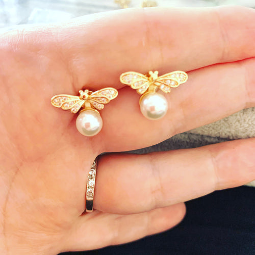 Bee and Pearl Stud Earrings