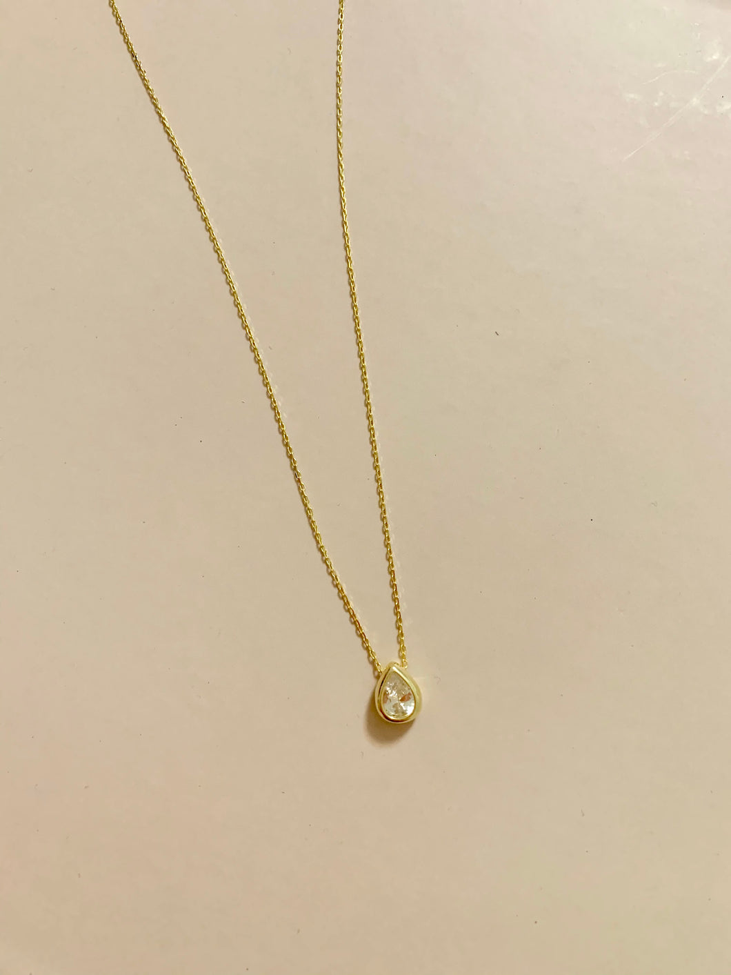 Teardrop Solitaire Necklace