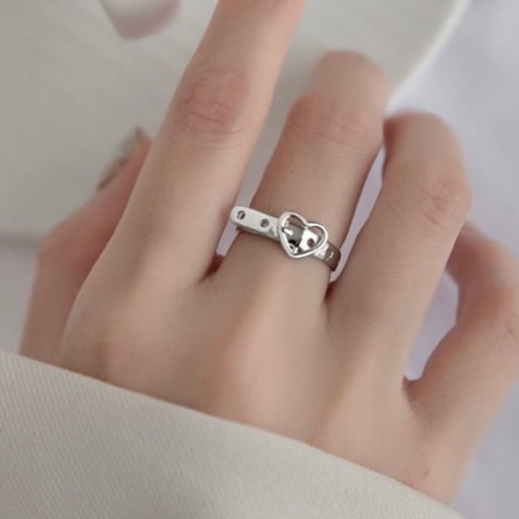 Heart Band Silver Open Ring