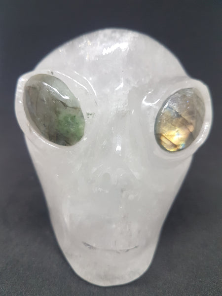Clear Quartz Alien Carving With Labradorite Eyes