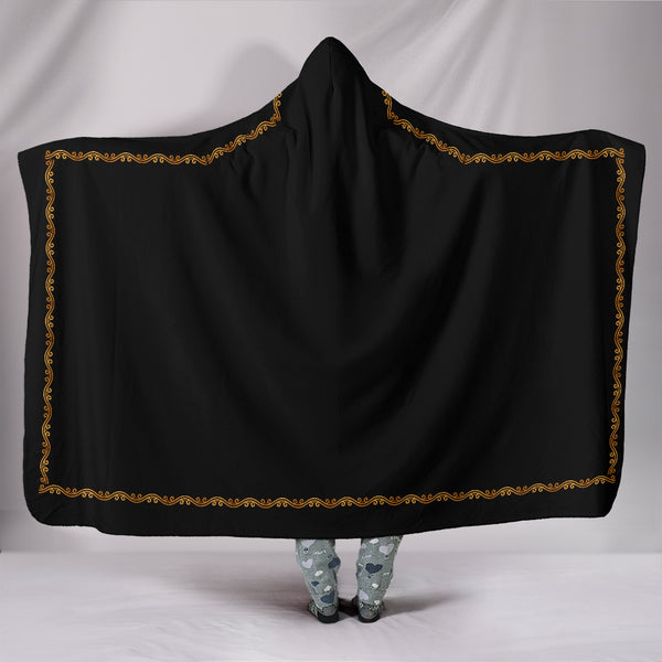Black With Gold Trim Hooded Blanket