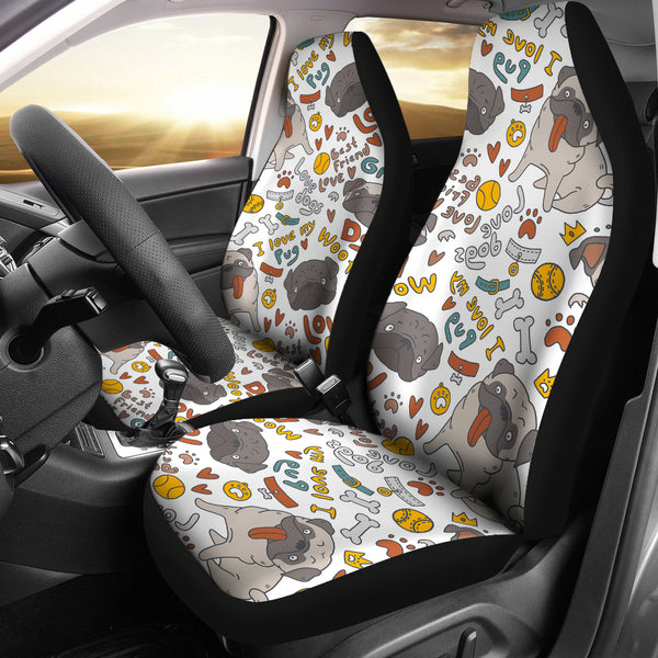 I Love My Pug Car Seat Covers