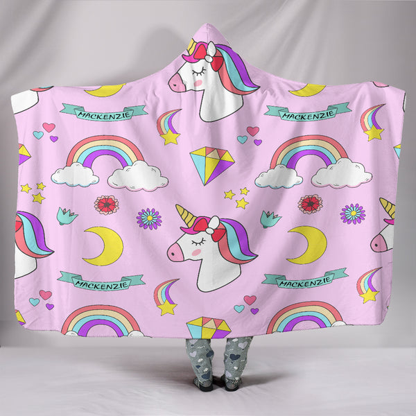 Personalised Unicorn Hooded Blanket - Mackenzie