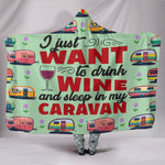 Wine & Caravan Hooded Blanket - Green