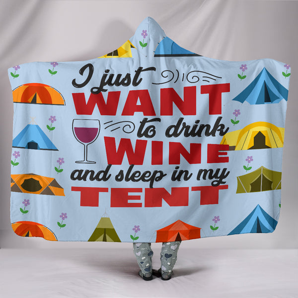 Wine & Tent Hooded Blanket - Blue