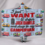 Jack Daniels & Campervan Hooded Blanket - Blue