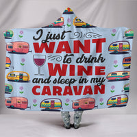 Wine & Caravan Hooded Blanket - Blue