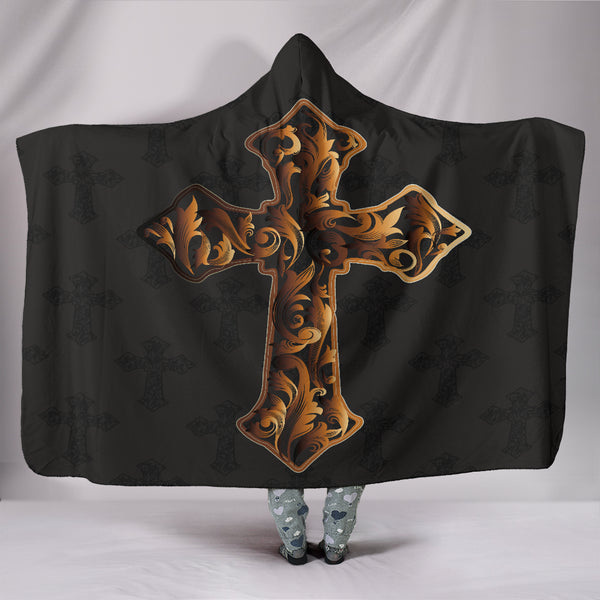 Gold Cross Hooded Blanket