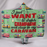 Champagne & Caravan Hooded Blanket - Mint Green
