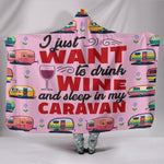 Wine & Caravan Hooded Blanket - Pink