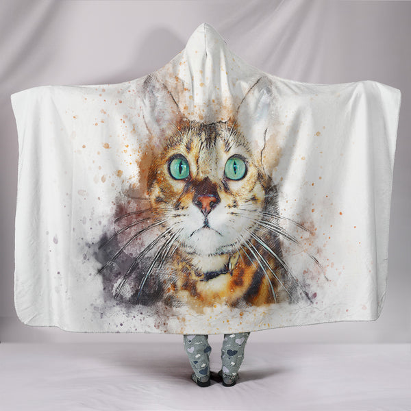 Green Eyed Cat Hooded Blanket