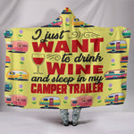Wine & Camper Trailer Hooded Blanket - Yellow