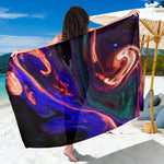 Orange Swirl Abstract Sarong
