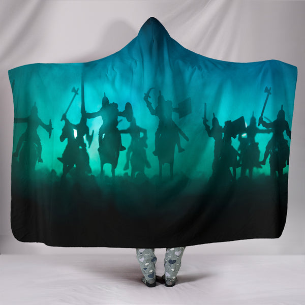 Medieval Battle Scene Hooded Blanket