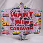 Wine & Caravan Hooded Blanket - Purple