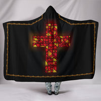Stained Glass Cross Gold Trimmed Hooded Blanket