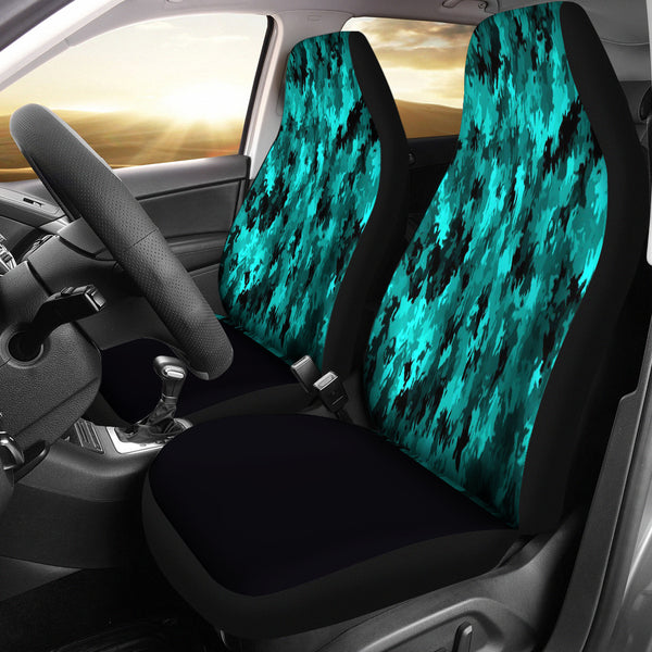 Coral Teal Camo Car Seat Covers