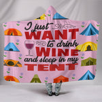 Wine & Tent Hooded Blanket - Pink