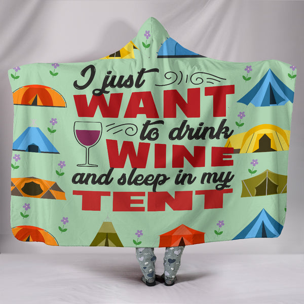 Wine & Tent Hooded Blanket - Green