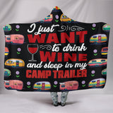 Wine & Camp Trailer Hooded Blanket - Black